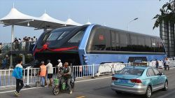 China's 'elevated bus' that glides over traffic completes first road test