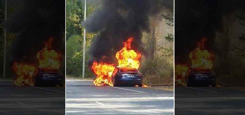 Tesla Model S catches on fire during a test drive in France
