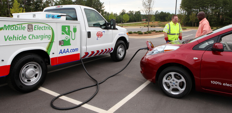 "AAA says that its emergency electric vehicle charging trucks served ""thousands"" of EVs without power"