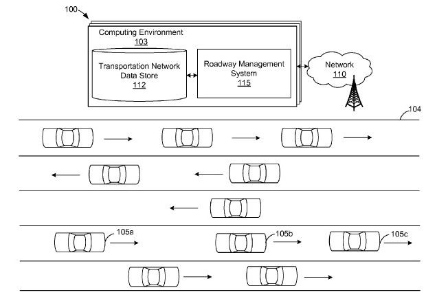 Amazon Patents Highway Network to Help Self-Driving Cars Navigate Reversible Lanes