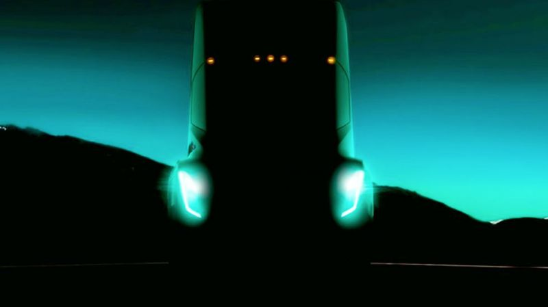 Tesla releases teaser photo of its full size electric semi-truck