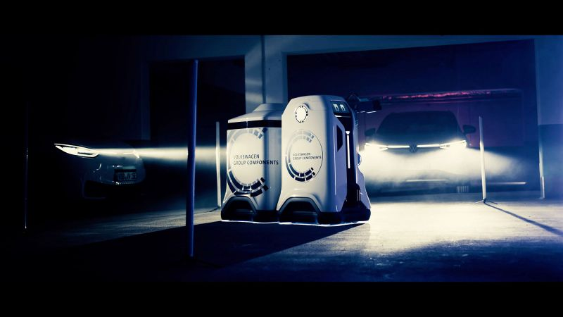 Volkswagen gives first glimpse of mobile charging robot for electric vehicles